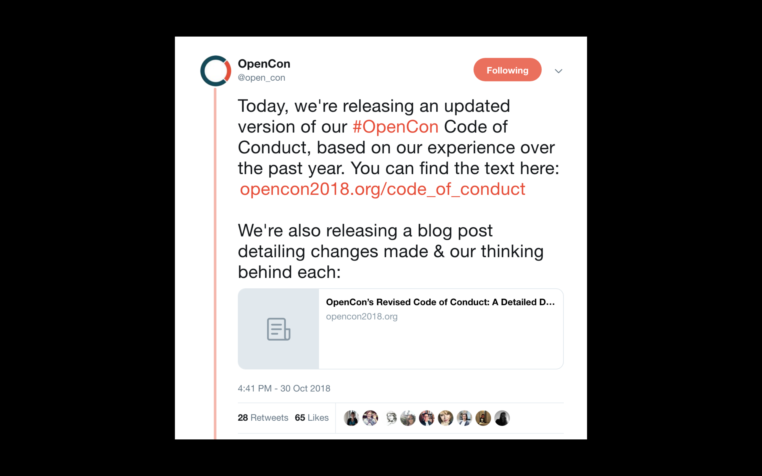 Tweet about the Opencon Code of Conduct