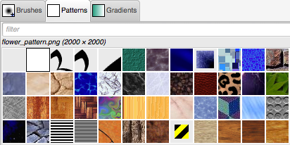 GIMP pattern menu tool window